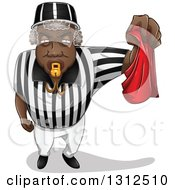 Black Male Referee Blowing A Whistle And Holding A Red Flag