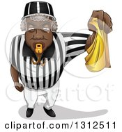 Black Male Referee Blowing A Whistle And Holding A Yellow Flag