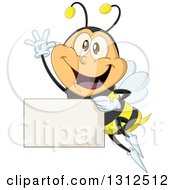 Cartoon Happy Bee Waving And Flying With A Blank Sign