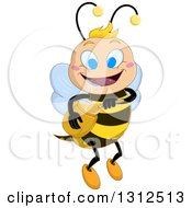 Cartoon Happy Blue Eyed Bee Flying With A Honey Jar