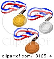 Clipart Of First Second And Third Sports Placement Medals On Ribbons Royalty Free Vector Illustration by Liron Peer