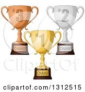 Clipart Of Fist Second And Third Place Championship Trophies Royalty Free Vector Illustration by Liron Peer