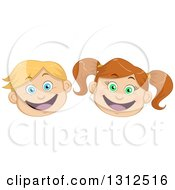 Clipart Of Happy Excited Caucasian Child Faces Royalty Free Vector Illustration by Liron Peer