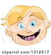 Clipart Of A Happy Blond Haired Blue Eyed Caucasian Boys Face Royalty Free Vector Illustration