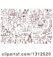 Clipart Of Sketched Christmas Item Doodles Royalty Free Vector Illustration by Liron Peer