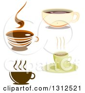 Clipart Of Coffee Cups And Saucers Royalty Free Vector Illustration