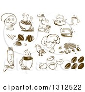 Clipart Of Sketched People Coffee Beans And Cups Royalty Free Vector Illustration
