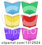 Clipart Of Cartoon Open Colorful Books Royalty Free Vector Illustration by Liron Peer