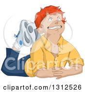 Clipart Of A Cartoon Casual Red Haired White Boy Resting On Floor And Grinning Royalty Free Vector Illustration by Liron Peer