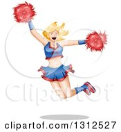Blond White Female Cheerleader Jumping With Pom Poms