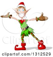 Clipart Of A Cartoon Welcoming Christmas Elf With Open Arms Royalty Free Vector Illustration