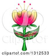 Clipart Of A Gradient Yellow And Pink Exotic Flower With Leaves Royalty Free Vector Illustration