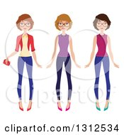 Clipart Of A Three Different Caucasian Women Wearing Glasses And Outfits Royalty Free Vector Illustration