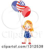 Clipart Of A Cute Strawberry Blond White Girl Holding Patriotic Independence Day American Balloons Royalty Free Vector Illustration by Pushkin