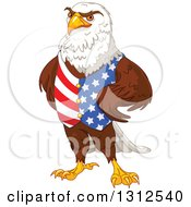 Clipart Of A Handsome Bald Eagle Wearing An American Vest And Standing With Hands On His Hips Royalty Free Vector Illustration by Pushkin