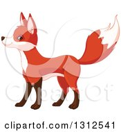 Clipart Of A Cute Fox Standing And Facing Left Royalty Free Vector Illustration