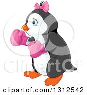 Clipart Of A Cute Female Penguin Wearing Pink Boxing Gloves Royalty Free Vector Illustration