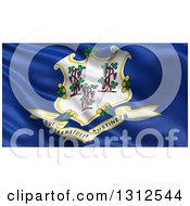 Clipart Of A 3d Rippling State Flag Of Connecticut USA Royalty Free Illustration