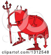 Clipart Of A Cartoon Fat Red Devil Creeping Around And Holding A Pitchfork Royalty Free Vector Illustration