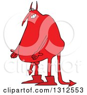 Clipart Of A Cartoon Fat Red Devil Showing His Arrow Dick Royalty Free Vector Illustration by Dennis Cox