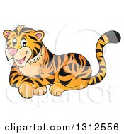Clipart Of A Cartoon Happy Resting Tiger Royalty Free Vector Illustration