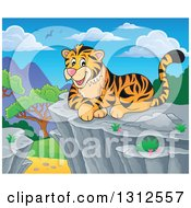 Clipart Of A Cartoon Happy Tiger Resting On A Bluff Against A Day Landscape Royalty Free Vector Illustration by visekart