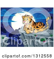 Clipart Of A Cartoon Happy Tiger Resting On A Bluff Against A Night Landscape Royalty Free Vector Illustration by visekart