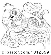 Lineart Clipart Of A Cartoon Black And White Happy Resting Tiger In A Tree Royalty Free Outline Vector Illustration by visekart