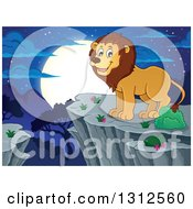 Clipart Of A Cartoon Happy Male Lion On A Bluff Over A Night Andscape Royalty Free Vector Illustration by visekart