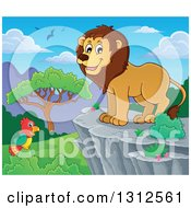 Clipart Of A Cartoon Happy Male Lion On A Bluff Over A Day Time Landscape Royalty Free Vector Illustration