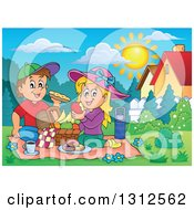 Clipart Of A Cartoon White Boy And Girl Eating At A Picnic In A Park On A Sunny Day Royalty Free Vector Illustration