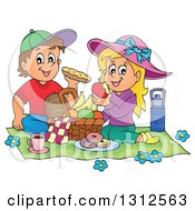 Clipart Of A Cartoon White Boy And Girl Eating At A Picnic Royalty Free Vector Illustration by visekart