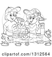 Lineart Clipart Of A Cartoon Black And White Boy And Girl Eating At A Picnic Royalty Free Outline Vector Illustration