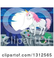 Clipart Of A Cartoon White Unicorn With Pink Hair Standing On A Cliff Over Mountains A Forest And Full Moon At Night Royalty Free Vector Illustration by visekart