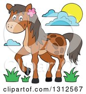Clipart Of A Cartoon Brown Horse Grass Sun And Clouds Royalty Free Vector Illustration by visekart
