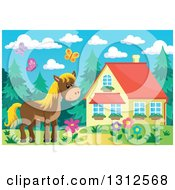 Clipart Of A Brown Horse Barn Flowers And Butterflies By A House On A Spring Day Royalty Free Vector Illustration