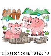 Cartoon Pigs Fence Mud And Grass