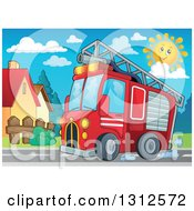 Clipart Of A Cartoon Red Fire Truck Driving By Homes Royalty Free Vector Illustration by visekart