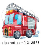 Cartoon Red Fire Truck With A Ladder And Hose On The Top