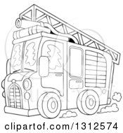 Lineart Clipart Of A Cartoon Black And White Fire Truck With A Ladder And Hose On The Top Royalty Free Outline Vector Illustration by visekart