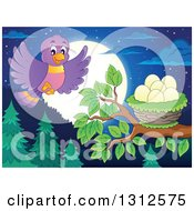 Clipart Of A Cartoon Blue Bird Landing On A Branch With A Nest And Eggs Over An Evergreen Forest With A Full Moon At Night Royalty Free Vector Illustration