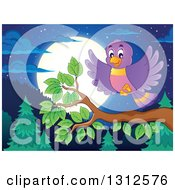 Clipart Of A Cartoon Blue Bird Landing On A Branch Over An Evergreen Forest With A Full Moon At Night Royalty Free Vector Illustration