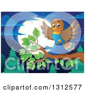 Clipart Of A Cartoon Bird Landing On A Branch Over An Evergreen Forest With A Full Moon At Night Royalty Free Vector Illustration