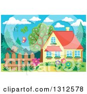 Clipart Of A Bird On A Fence Garden Butterflies And House Royalty Free Vector Illustration