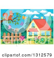 Clipart Of A Squirrel On A Tree Branch Over A Bird On A Fence Garden Butterflies And House Royalty Free Vector Illustration by visekart