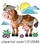 Clipart Of A Cartoon Brown Cow Flowers Grass Sun And Clouds Royalty Free Vector Illustration by visekart