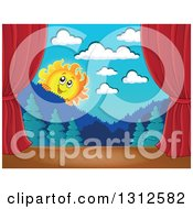 Clipart Of A Happy Summer Sun Looking Over Mountains And A Forest Stage Set With Red Curtains Royalty Free Vector Illustration