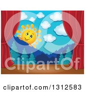 Clipart Of A Happy Sun Looking Over Mountains And A Forest Stage Set With Red Curtains Royalty Free Vector Illustration by visekart