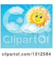 Clipart Of A Cartoon Sun With Puffy Clouds And Sun Rays In A Blue Day Sky Royalty Free Vector Illustration