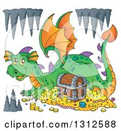 Clipart Of A Cartoon Green Dragon Resting By Treasure With Formations Royalty Free Vector Illustration